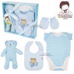 [สีฟ้า] ชุดของขวัญเสื้อผ้าพร้อมตุ๊กตา 4 ชิ้น TomTom joyful (เด็กอายุ 0-6 เดือน)