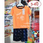[3-4ปี] [สีส้ม] [เซต2ชิ้น] Lilsoft baby ชุดเสื้อแขนสั้น+กางเกงขาสั้นลายอวกาศ 100%Cotton