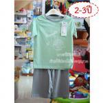 [2-3ปี] [สี่เขียว] [เซต2ชิ้น] Lilsoft baby ชุดเสื้อแขนสั้น+กางเกงขาสั้นลายอวกาศ 100%Cotton