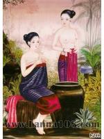 ภาพศิลปะล้านนา ชื่อภาพแม่หญิงอาบน้ำ รหัสสินค้า B - 03