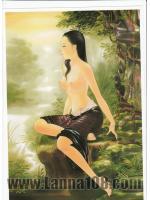 ภาพศิลปะล้านนา รูปแม่ญิงชมวิว รหัสสินค้า A - 64