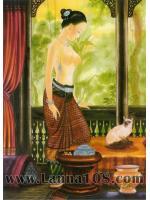 """ภาพศิลปะล้านนา """"แม่หญิงกับแมวไทย""""รหัสสินค้า B - 49"""