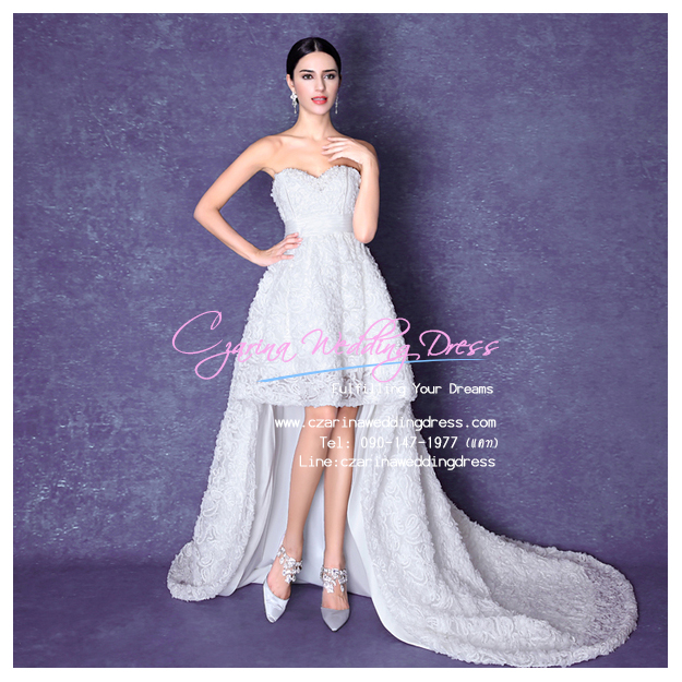ws5044 ขาย ชุดแต่งงานสั้น สไตล์หน้าสั้นหลังยาว สวย หวาน หรู เลอค่ามากๆ ค่ะ ราคาถูกกว่าเช่า