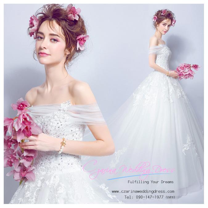 K-0161 ขาย ชุดแต่งงาน เจ้าหญิงเรียบหรู คอวี แขนกุด ใส่ถ่ายพรีเวดดิ้ง สวยหรู ดูดีที่สุดในโลก ราคาถูกกว่าเช่า