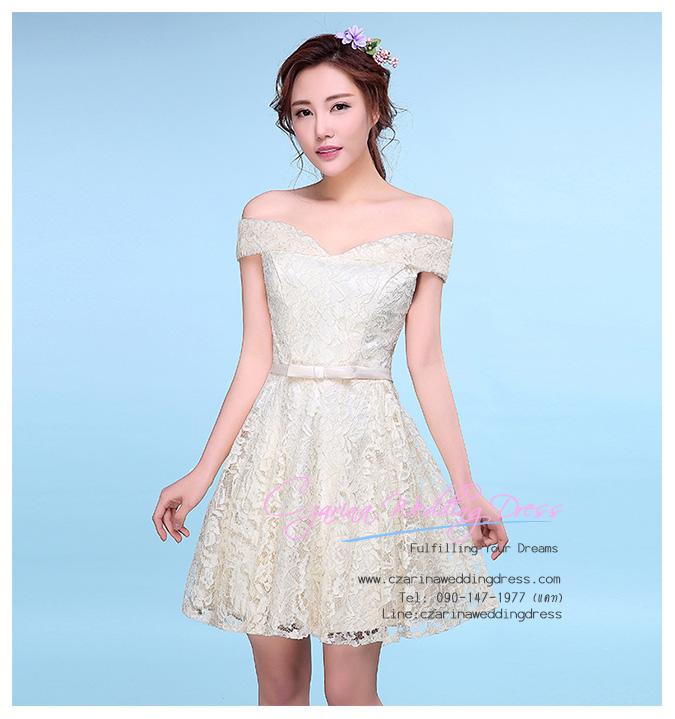 Z-0067 ชุดไปงานแต่งงานน่ารัก ลูกไม้ สุดหรู สวย เก๋น่ารัก ราคาถูก สีขาว ไหล่ปาด