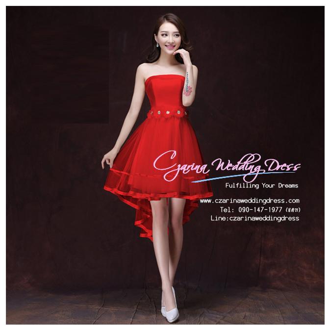 Z-0294 ชุดไปงานแต่งงานน่ารัก แนววินเทจหวานๆ สวย เก๋น่ารัก ราคาถูก สีแดง เกาะอก หน้าสั้นหลังยาว พร้อมส่ง