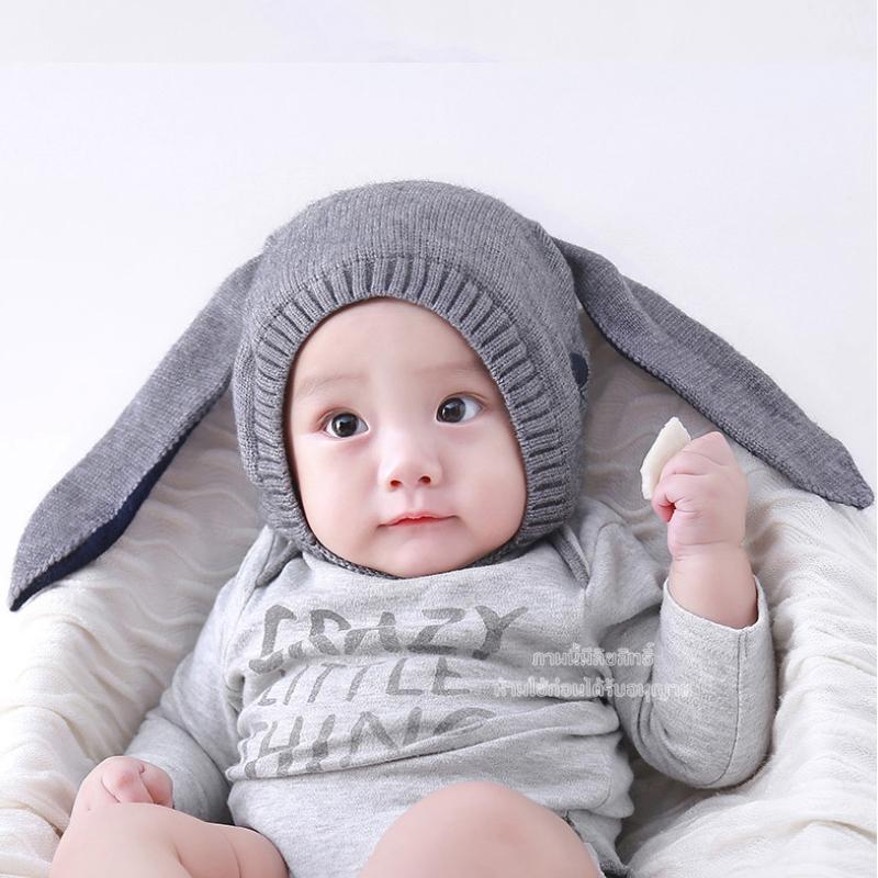 หมวกไหมพรมเด็กกระต่ายหูยาวสีเทา