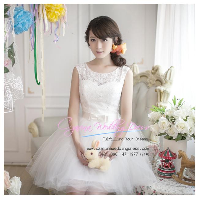 ws5032 ขาย ชุดแต่งงานสั้น ชุดลูกไม้สีขาว สวยหวานน่ารักแบบคุณหนู ราคาถูกกว่าเช่า