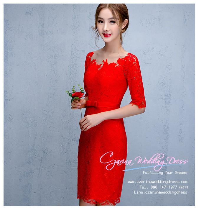 Z-0305 ชุดไปงานแต่งงานน่ารัก แนววินเทจหวานๆ สวย งามสง่า ราคาถูก สีแดง