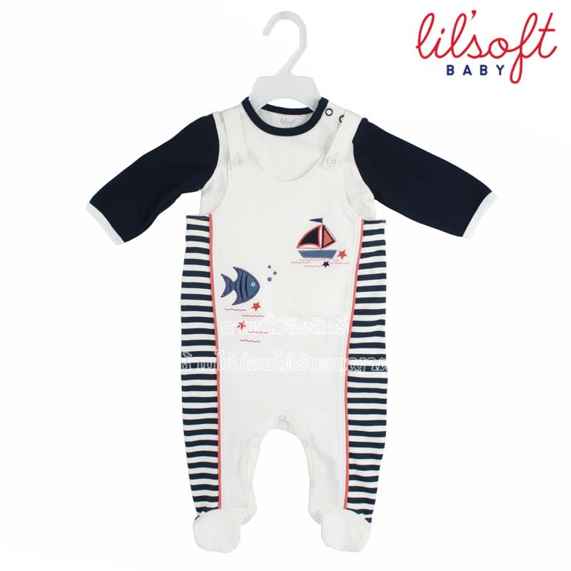 [เซต2ชิ้น] Lilsoft baby ชุดเอี๊ยมบอดี้สูท+เสื้อแขนยาวลายเรือ 100%Cotton