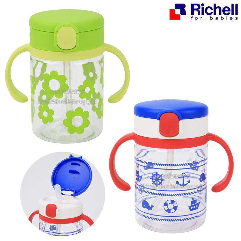 Richell ถ้วยหลอดดูดกันสำลัก Aqulea LC Clear Straw Bottle Mug R 200ml.