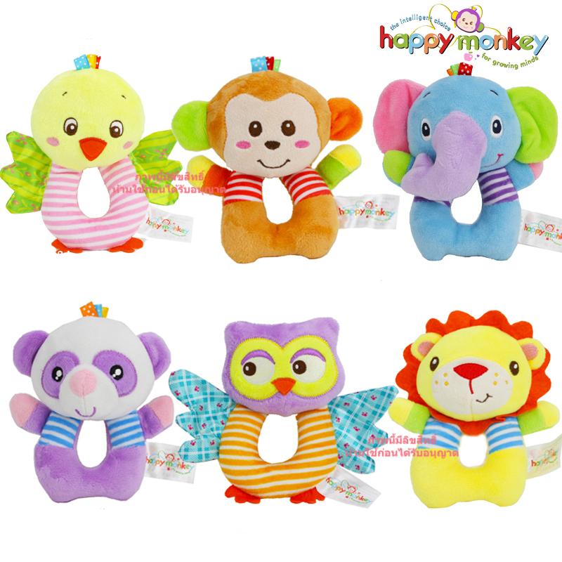 ตุ๊กตาเขย่าผ้าขนนุ่มลายสัตว์ Happy monkey