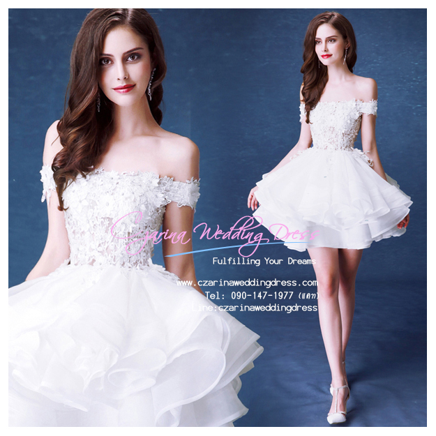 ws5037 ขาย ชุดแต่งงานสั้น โอบไหล่ สวย หวาน หรู น่ารักมากๆ ราคาถูกกว่าเช่า