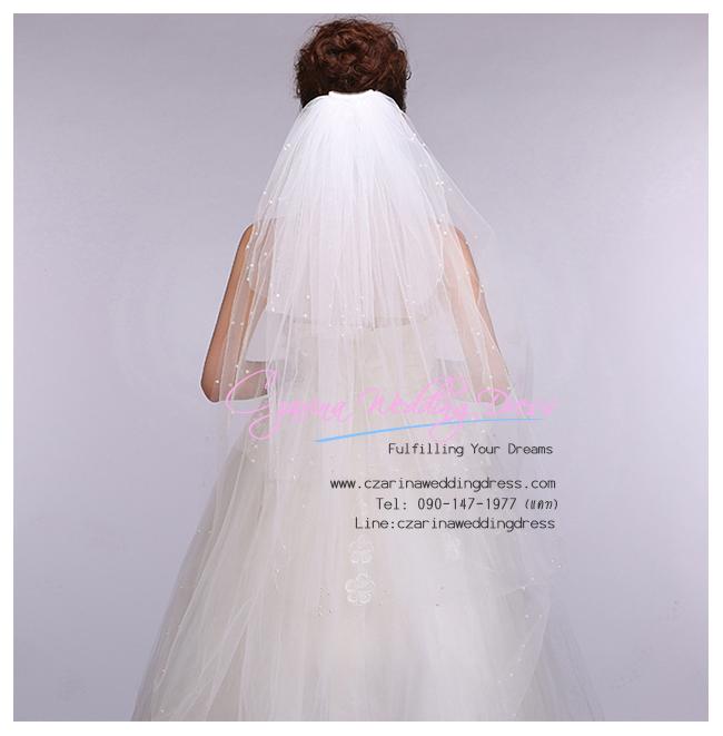 W-0109 พร้อมส่ง ผ้าคลุมผมเจ้าสาว เวลเจ้าสาวยาว 3 ชั้น ผ้าคลุผมเจ้าสาวแบบเจ้าหญิง ราคาถูก