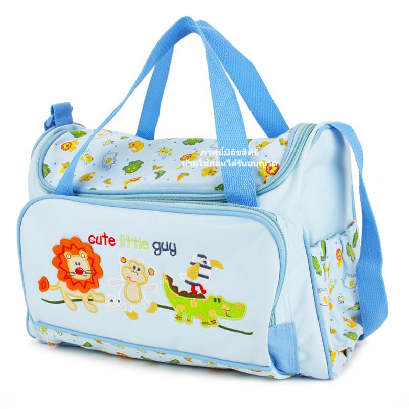 กระเป๋าสัมภาระสีฟ้า ลายสิงโต ลิง จระเข้