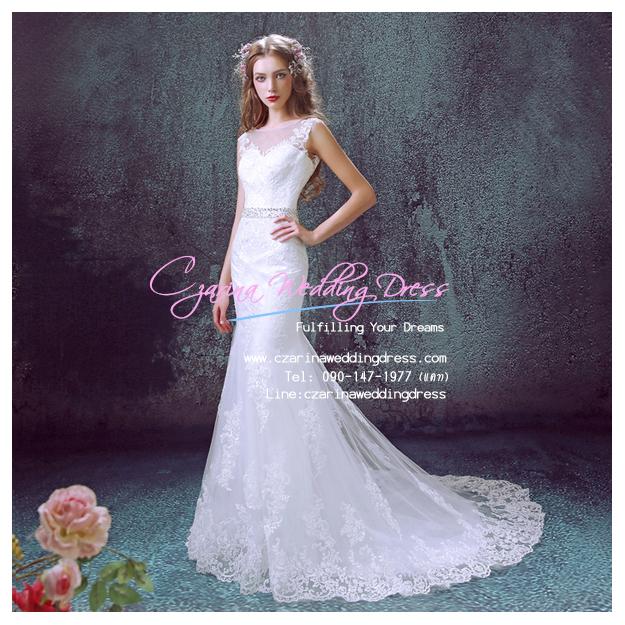 wm5069 ขาย ชุดแต่งงานเจ้าหญิง ชุดเจ้าสาวหางปลา ลากยาว สวยที่สุดในโลก ราคาถูกกว่าเช่า