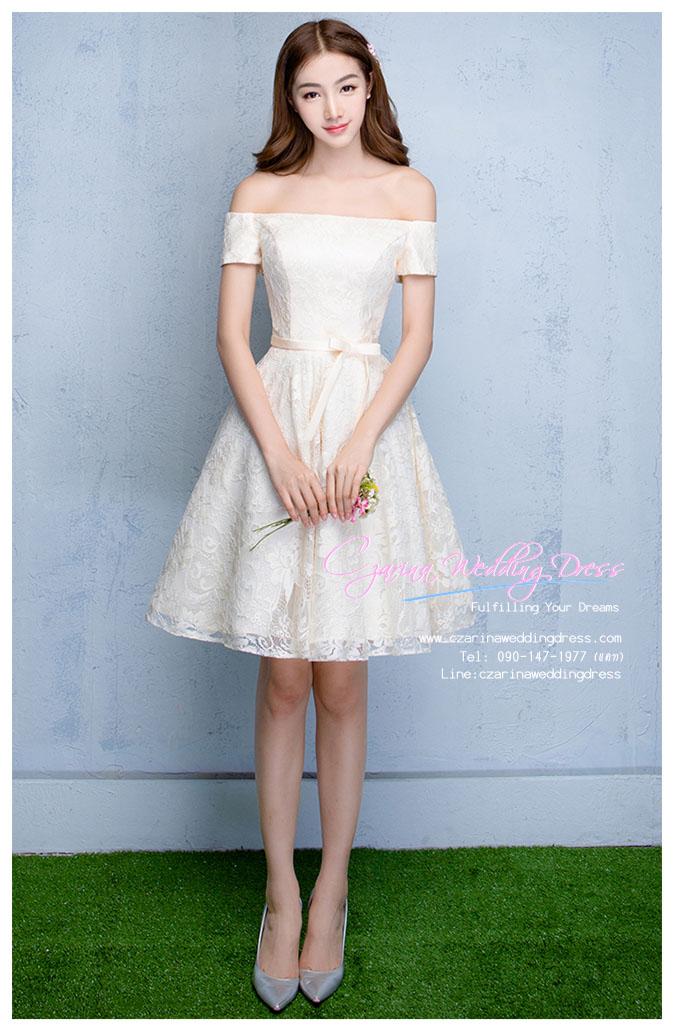 Z-0311 ชุดไปงานแต่งงานน่ารัก แนววินเทจหวานๆ สวย งามสง่า ราคาถูก สีครีม ไหล่ปาด ลายดอกไม้