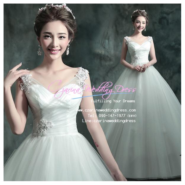 wm5049 พร้อมส่ง ชุดแต่งงาน คอวี ชุดถ่ายพรีเวดดิ้งสุดหรู สวยสุดอลังแบบดารา