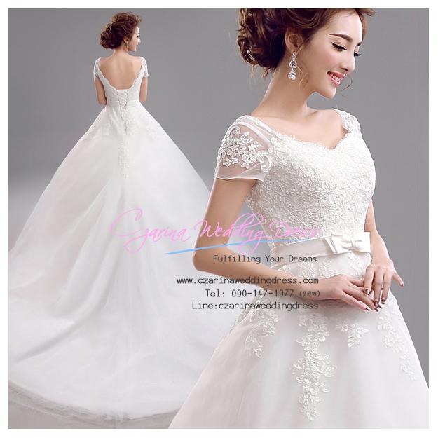 wm5043 ขาย ชุดแต่งงาน แขนสั้น ผ้าลูกไม้ กระโปรงลากยาว ด้านหลังร้อยเชือก สวยหรู ราคาถูก
