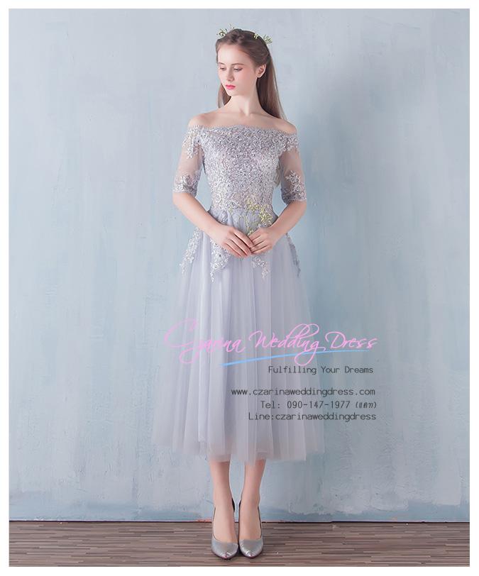 Z-0076 ชุดไปงานแต่งงานน่ารัก ลูกไม้ สุดหรู สวย เก๋น่ารัก ราคาถูก สีเทา ไหล่ปาด