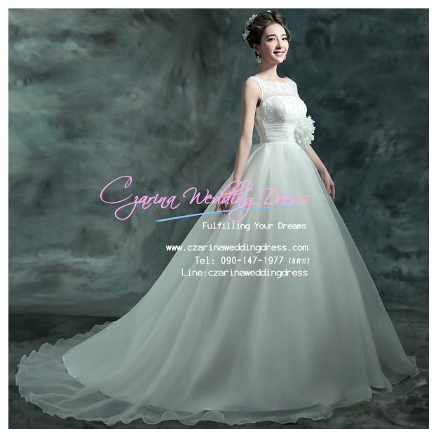 wm50022 ขาย ชุดแต่งงาน แขนกุดสุดอลังการ ราคาถูก สวยหรูแบบดารา