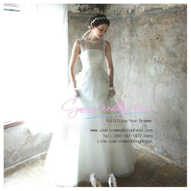 WB40019 ขาย ชุดแต่งงาน แบบเปิดไหล่ สไตล์ ดารา เกาหลี ราคาถูก สวยหรูด้วยงานลูกไม้ สำเนา