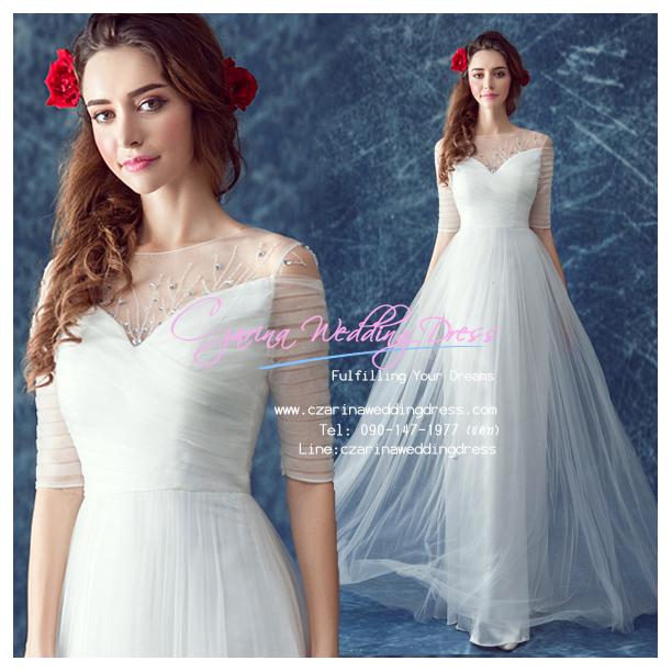 wm5111 ขาย ชุดแต่งงาน เจ้าหญิงเรียบหรู แบบมีแขน ใส่ถ่ายพรีเวดดิ้ง สวยหรู ดูดีที่สุดในโลก ราคาถูกกว่าเช่า