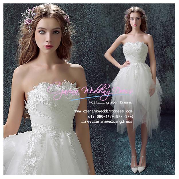 ws5035 ขาย ชุดแต่งงานสั้น สไตล์เกาหลี สวย หวาน หรู น่ารักมากๆ ราคาถูกกว่าเช่า