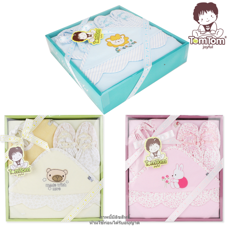 ชุดของขวัญผ้าห่อตัวและเครื่องแต่งกาย 4 ชิ้น(เด็กแรกเกิด 0-12 เดือน) TomTom joyful