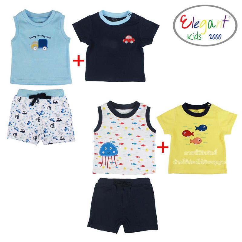 [เซต3ชิ้น] Elegant kids ชุดเสื้อแขนสั้น+แขนกุด+กางเกงขาสั้น 100%Cotton
