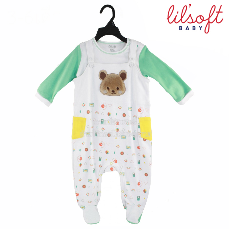 [เซต2ชิ้น] Lilsoft baby ชุดเอี๊ยมบอดี้สูท+เสื้อแขนยาวลายหมี 100%Cotton
