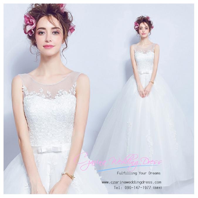 K-0160 ขาย ชุดแต่งงาน เจ้าหญิงเรียบหรู คอวี แขนกุด ใส่ถ่ายพรีเวดดิ้ง สวยหรู ดูดีที่สุดในโลก ราคาถูกกว่าเช่า