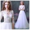 wm5074 ขาย ชุดแต่งงานเจ้าหญิง คอวี ซีทรู แขนยาว สวย เซ็กซี่มาก ราคาถูกกว่าเช่า