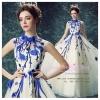 K-0054 ชุดราตรียาว ชุดไปงานแต่ง ชุดพรีเวดดิ้ง สีขาว ดอกไม้สีน้ำเงิน คอเต่าอินเทรนด์