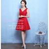 Z-0089 ชุดไปงานแต่งงานน่ารัก แนววินเทจหวานๆ สวย เก๋น่ารัก ราคาถูก สีแดง แขนกุด คอวี