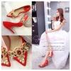 X-006 ขาย รองเท้าออกงาน ราคาถูก ใส่ไปงานแต่งงานกลางคืน ไปงานแต่งงานกลางวัน สวย หรู น่ารักมาก สีแดง เหมาะกับยกน้ำชา