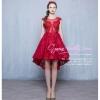 Z-0323 ชุดไปงานแต่งงานน่ารัก แนววินเทจหวานๆ สวย งามสง่า ราคาถูก สีแดง หน้าสั้นหลังยาว