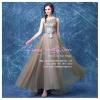 L-0126 ชุดไปงานแต่งงาน ชุดราตรียาว สีเทา แขนกุด ใส่ไปงานแต่งงานกลางคืน สวย หรู ราคาถูว่าเช่า