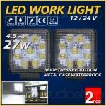 ไฟตัดหมอก LED Work light รถยนต์ เรือ มอเตอร์ไซค์ บิ๊คไบค์ ออฟโรด 4WD ATV 27 วัตต์ สีขาว 4.5 นิ้ว ทรงเหลี่ยม 2 ชิ้น