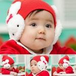 หมวกแดงปิดหู ลายกระต่าย