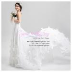 wm5041 ขาย ชุดแต่งงาน เกาะอก กระโปรงลากยาว แต่ดอกไม้ สวย หวาน หรู ราคาถูกกว่าเช่า