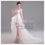 ws5010 ขาย ชุดแต่งงานสั้น แบบหน้าสั้นหลังยาว ราคาถูก สวยหรูด้วยงานผ้าลูกไม้