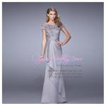 L-0120 ชุดไปงานแต่งงาน ชุดราตรียาว สีเทา ใส่ไปงานแต่งงานกลางคืน สวย หรู ราคาถูกกว่าเช่า