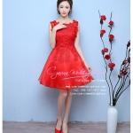 Z-0059 ชุดไปงานแต่งงานน่ารัก แขนกุด ผ้าลูกไม้ สุดหรู สวย เก๋น่ารัก ราคาถูก สีแดง
