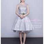 Z-0306 ชุดไปงานแต่งงานน่ารัก แนววินเทจหวานๆ สวย งามสง่า ราคาถูก สีเทา แขนกุด