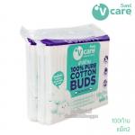 [แพ็คคู่] V care สำลีก้านเนเชอรัล 100 ก้าน Natural Cotton Buds
