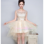 Z-0225 ชุดไปงานแต่งงานน่ารัก แนววินเทจหวานๆ สวย งามสง่า ราคาถูก ผ้าลูกไม้ สีครีม แขนกุด หน้าสั้นหลังยาว