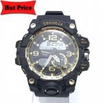 Tetonis นาฬิกาข้อมือผู้ชายสายยาง กันน้ำ รุ่น 2361-3 สีดำ/ทอง