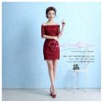 Z-0048 ชุดไปงานแต่งงานน่ารัก แขนมี เปิดไหล่ สุดหรู สวย เก๋น่ารัก ราคาถูก สีแดง ชุดสั้น
