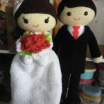 ตุ๊กตาถักคู่แต่งงาน 18 นิ้ว